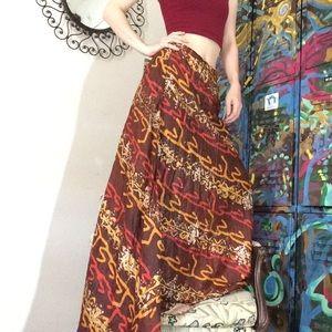 Vintage Zinat Sara Iran Tye Dye SILK Maxi Skirt